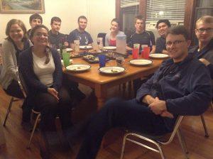 GCFers at dinner at Centennial house