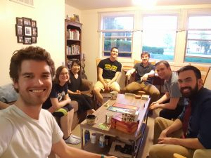Small group game night at Ben and Jess's Apartment