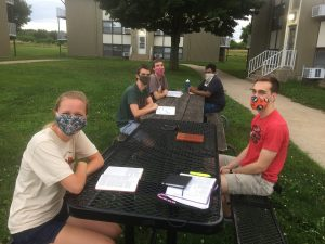 Summer 2020 bible study outside at picnic tables